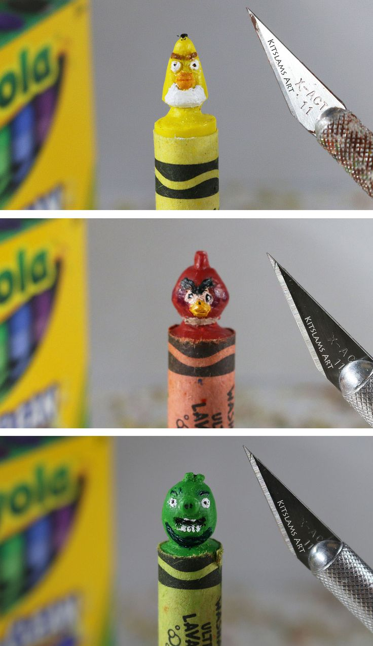 Angry Birds Crayon Carvings by @kitslam | Video: https://www.youtube.com/watch?v=iKSf06obKIY&list=PL3gRhsFjneo13AhSmq1mf1x5cIv52swRI&index=1