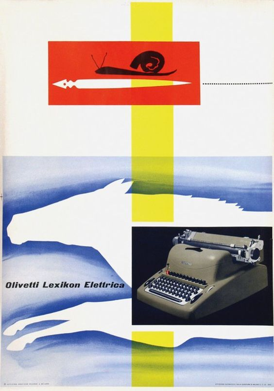 Giovanni Pintori, poster for Olivetti typewriter, 1950: