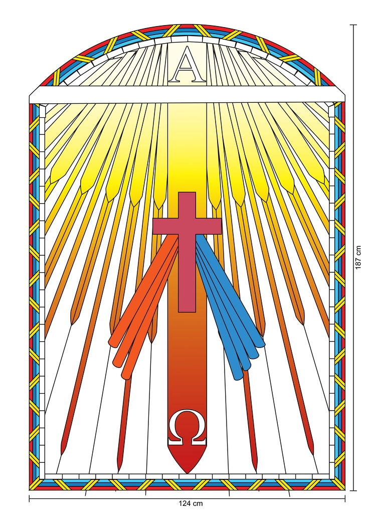 stained glass window plans for the roman catholic church