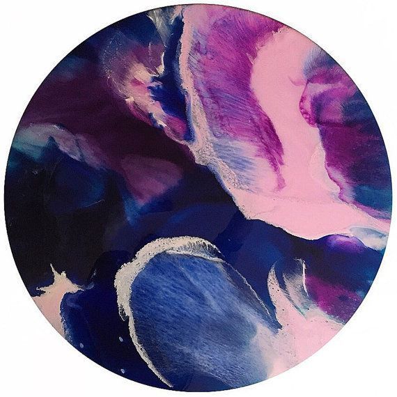 Resin art. 80cm round mixed media and resin by HelloSundayDesigns