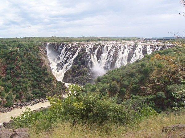 Ruacana Falls, Namibia Located in Northern Namibia and forming one of the largest waterfalls, Ruacana Falls drops more than 107 meters (350ft) , especially when water overflows the Calueque dam during the rainy season.