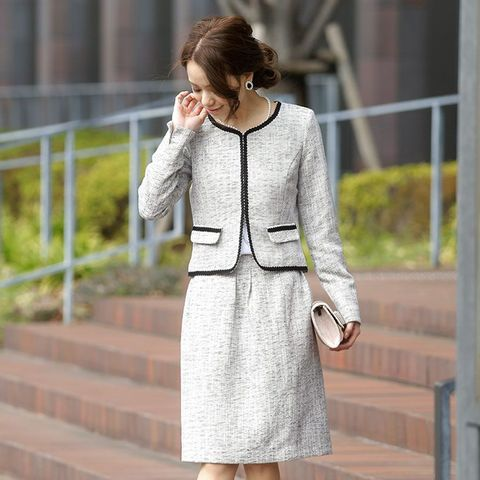 卒業式スーツ 入学式 卒業式 スーツ ママ ノーカラー ビジネス ジャケット スカート 2点セット フォーマル 1721 新作 春【RCP】 20代30代40代50代 ファッション / トップス(PourVous [プールヴー] のジャケット)