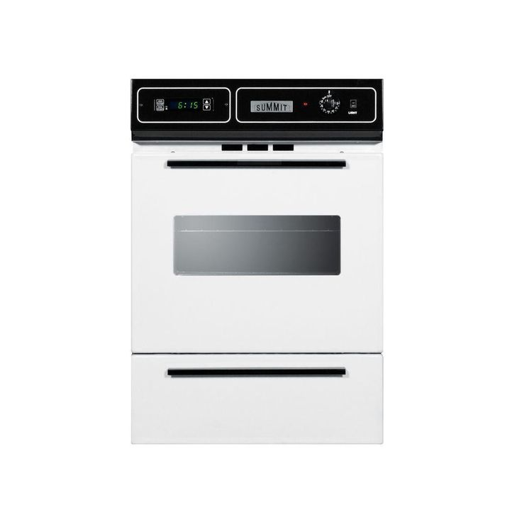Summit Appliance 24 in. Single Gas Wall Oven in White, White Exterior With Black Manifold/Handles And Glass Window