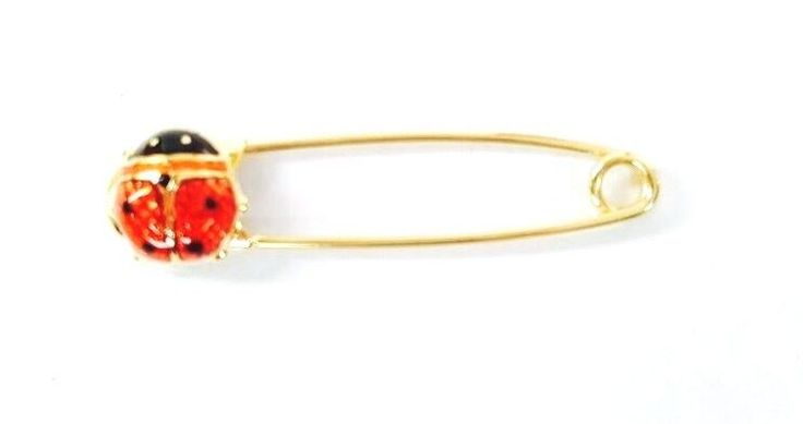 """*** 14K YELLOW GOLD SAFETY PIN  *** 1"""" WIDE *** BRAND NEW *** WITH LADY BUG ***"""