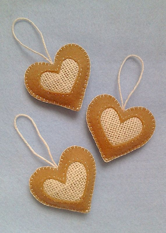 Handmade felt and burlap hearts set of 3 by LITTLEFACTORYCRAFTS