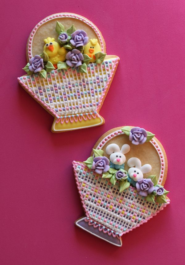 images of julia usher decorated cookies | Needlepoint Easter Basket Cookies | Julia Usher | Recipes for a Sweet ...