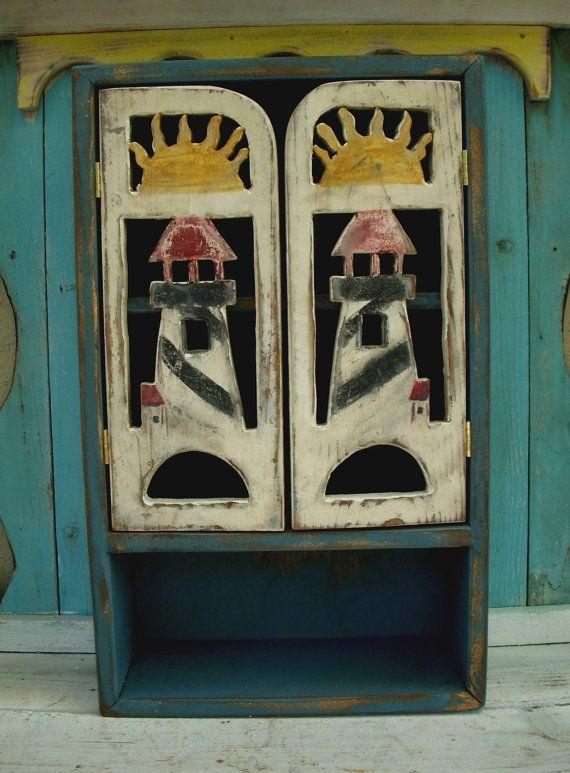 Handmade Wood Cabinet - Sun - Lighthouse - Cottage Chic - Shabby Decor