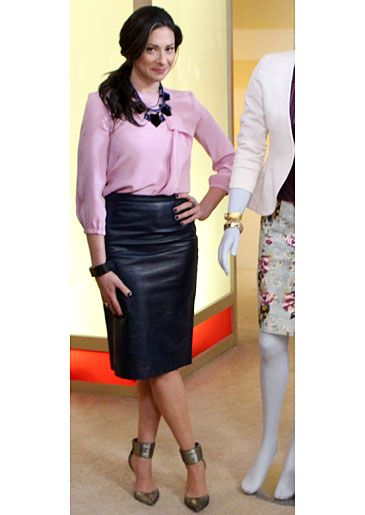 Pink Blouse and Navy Leather Skirt from Tibi #WNTW
