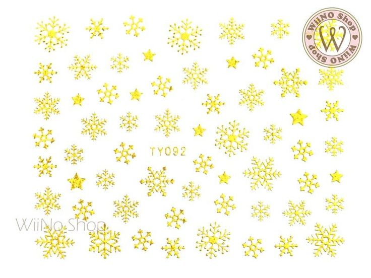 Gold Snowflake Nail Art Sticker - 1 pc (TY092G)