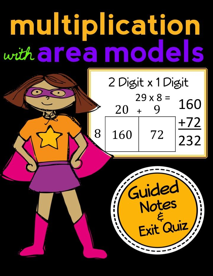 Area Model Multiplication: 2 Digit by 1 Digit, Guided Notes and Exit Quiz