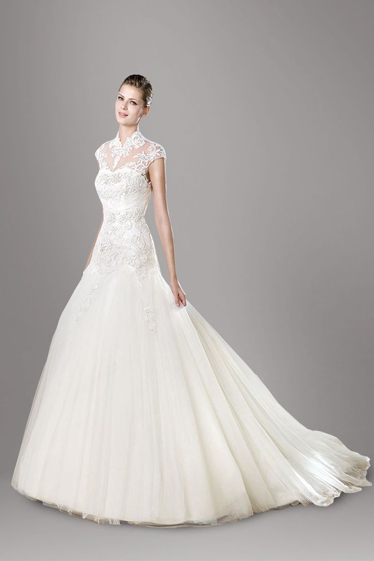 The dress for sale - High Neck Ivory Short Sleeve Lace Applique Trumpet Tulle Wedding Dress Wedding Dresses For Saletulle
