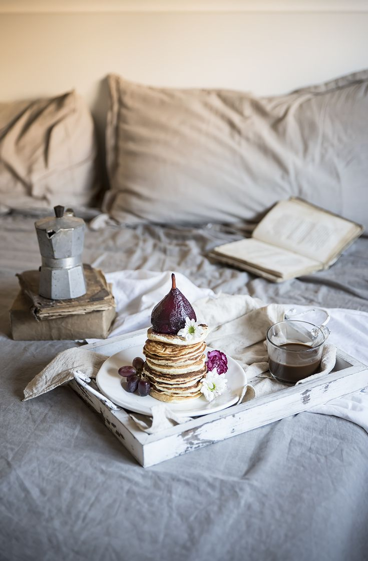 ANGEL FOOD PANCAKES WITH POACHED PEARS IN GRAPE JUICE