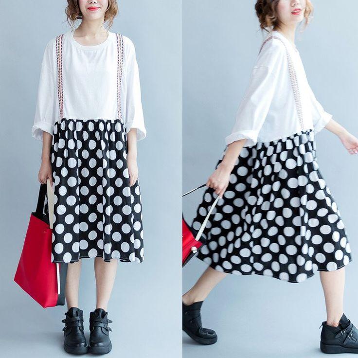 Women autumn white 100% cotton 3/4 sleeve dress