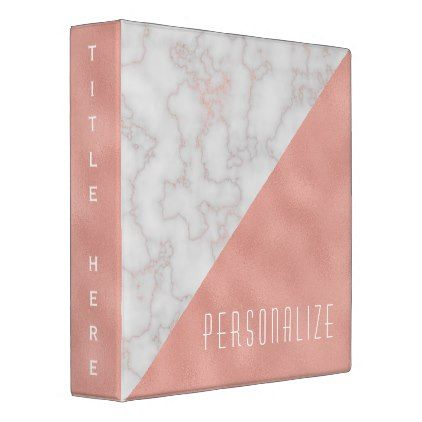 Elegant Rose Gold Marble Stone Gray Pink 3 Ring Binder