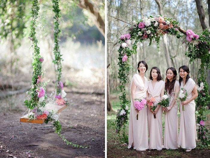 Sweet Swing & Suspended Arch / Tammy & Yosuke Forest Wedding / Tealily Photography