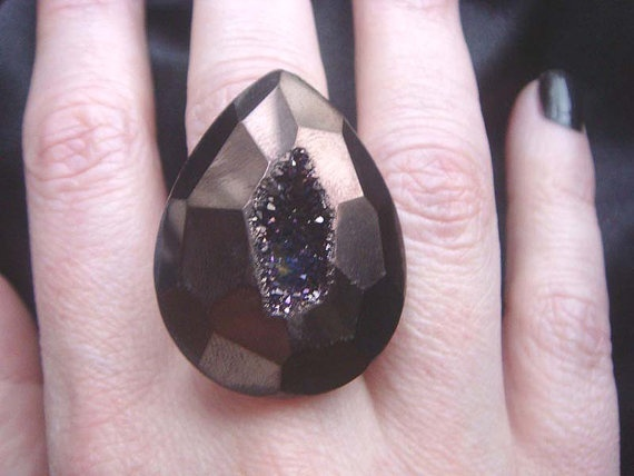 Big Bold One of a Kind Black Cherry Titanium Druzy Statement Ring by NakiaDesign, $55.00  someone, anyone, buy me this ring.