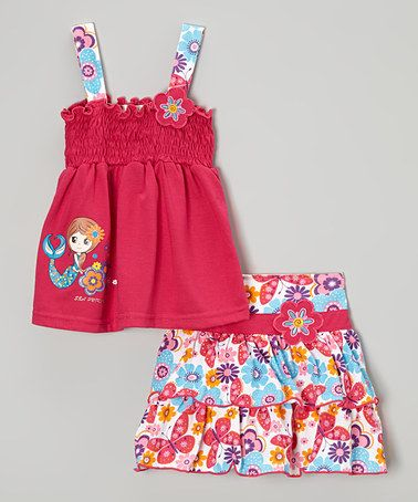 Fuchsia Mermaid Tank & Floral Skirt - Infant, Toddler & Girls by Littoe Potatoes #zulily #zulilyfinds