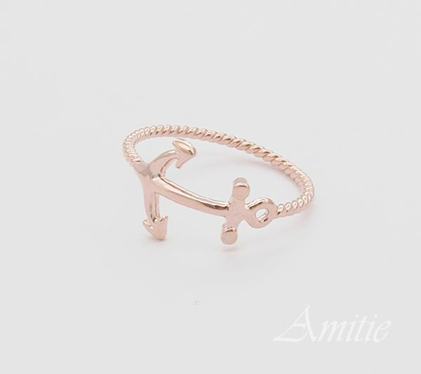 anchor ring ring 6.5 size in pink gold, rose gold, twisted ringband , everyday jewelry, delicate minimal jewelry
