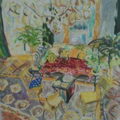 3 Yelow Chairs Acrilyc on canvas 50/50 cm