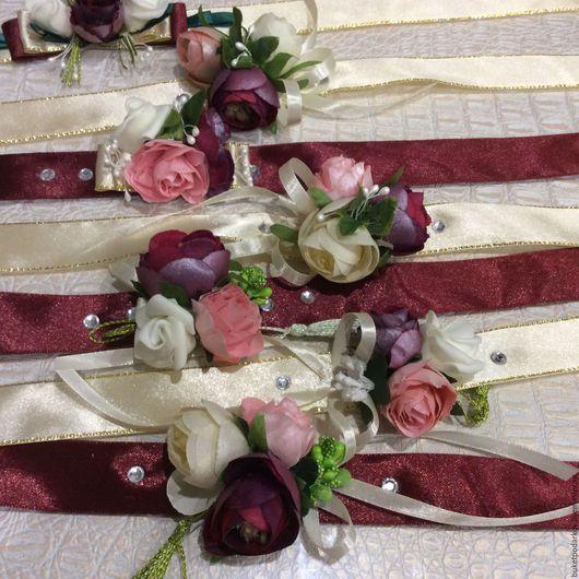 Одежда и аксессуары ручной работы. Ярмарка Мастеров - ручная работа. Купить Браслеты для подружек невесты .. Handmade. Комбинированный, свадебные цветы