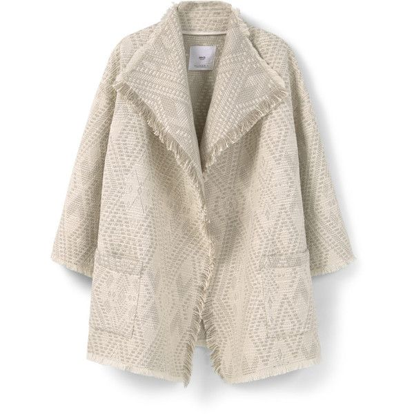 Jacquard Cotton Jacket (67 CAD) ❤ liked on Polyvore featuring outerwear, jackets, cotton jacket, long sleeve jacket, pink jacket, mango jacket and jacquard jacket
