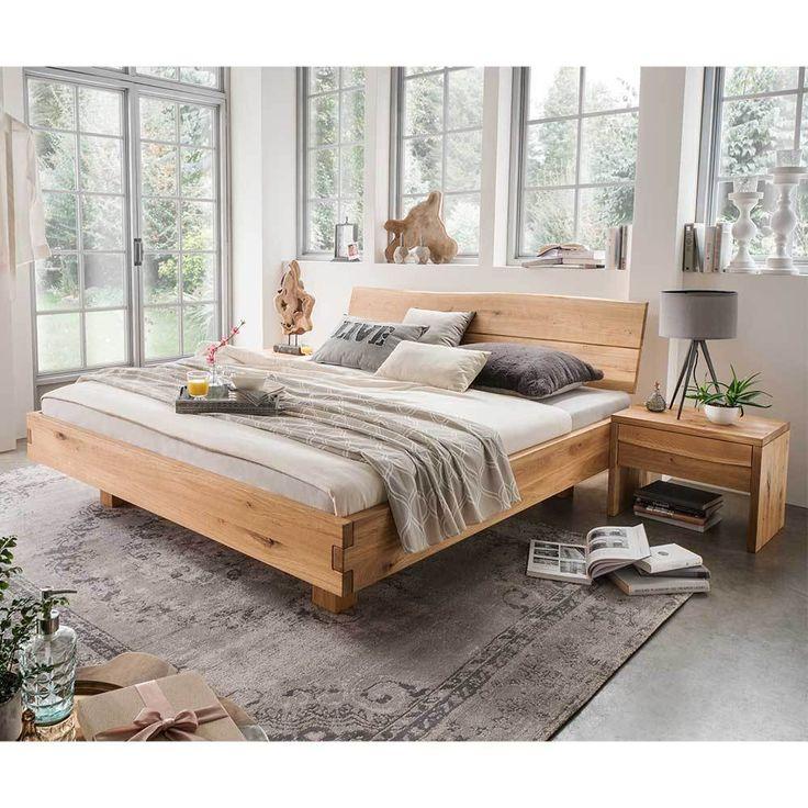 Massivholzbett Mit Baumkanten Kopfteil Wildeiche Geolt 3 Teilig Haus Deko Massiv Bett Massivholzbett