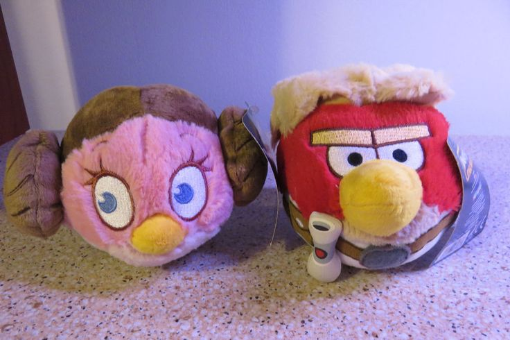 "2012 Angry Birds Star Wars 5"" Plush Luke Skywalker & Princess Liea New with Tags #Rovio"