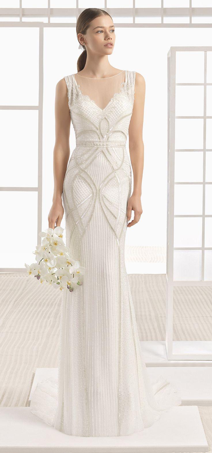 Art Deco 2017 @rosaclara Soft collection. A glamorous column wedding dress with lavish Art Deco style beading.