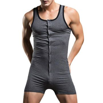 SUPERBODY Sexy Sleepwear Pure Cotton One Piece Siamese Vest Home Body Sculpting Pajamas for Men