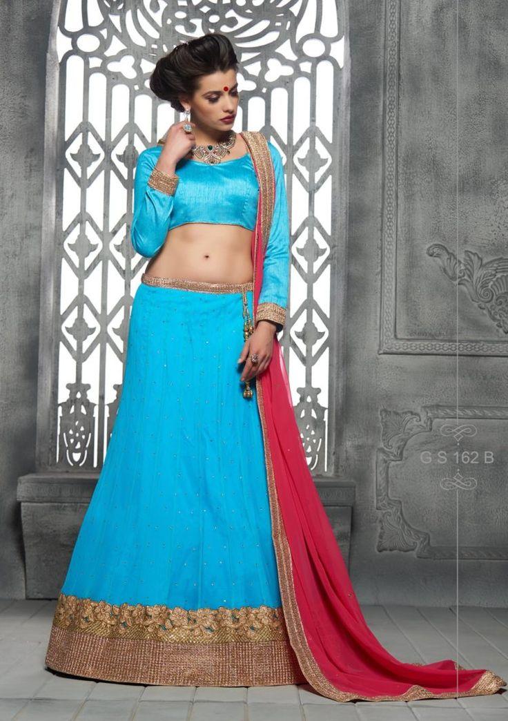 Firozi And Rani Color Soft Net Party Wear Lehenga Choli - ClickOnBazar