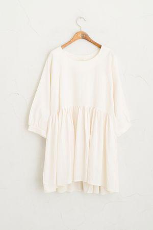 Linen Baby Doll Dress, Ivory