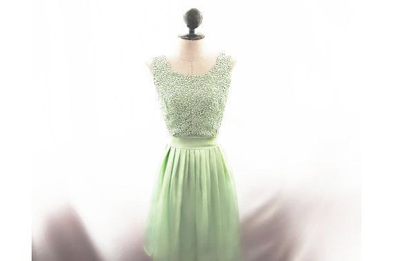 SALE Bridesmaid Dress Green Lace Jane Austen Mint Gown Victorian Elven Skater Prom Dress Lord of the Rings Ethereal Romantic Game of Thrones
