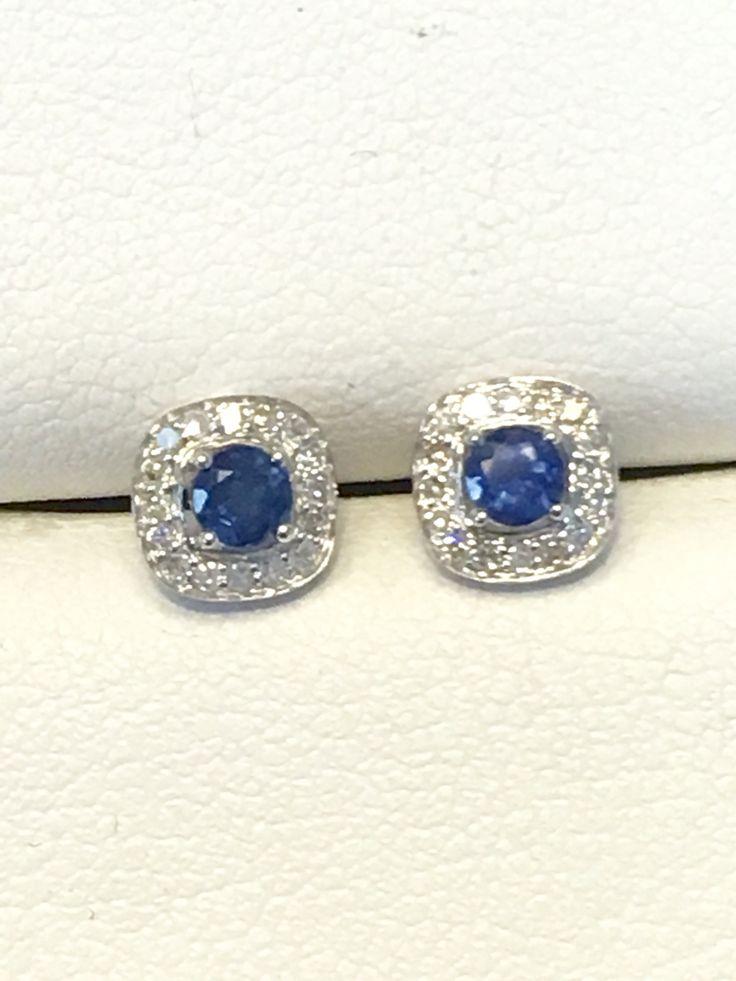 Blue sapphire and diamond stud earrings