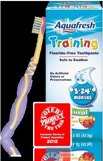 Aquafresh Training Toothbrush and Toothpaste.