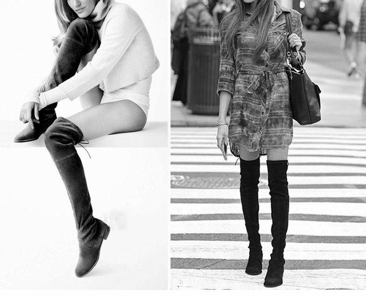 SexeMara Женщины Растянуть Замши над Коленом Сапоги Плоские Бедра высокие Сапоги Сексуальная Мода Плюс Размер Обуви Женщина Черный Серый Winered #women, #men, #hats, #watches, #belts