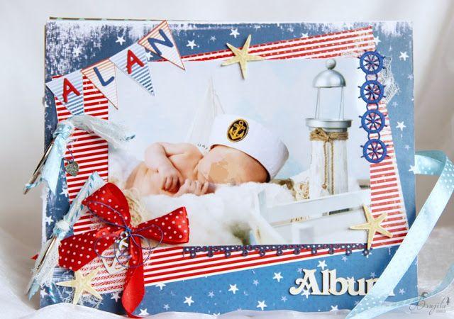 marynarski album ręcznie robiony dla chłopca, na roczek, prezent dla dziadków, fotoalbum