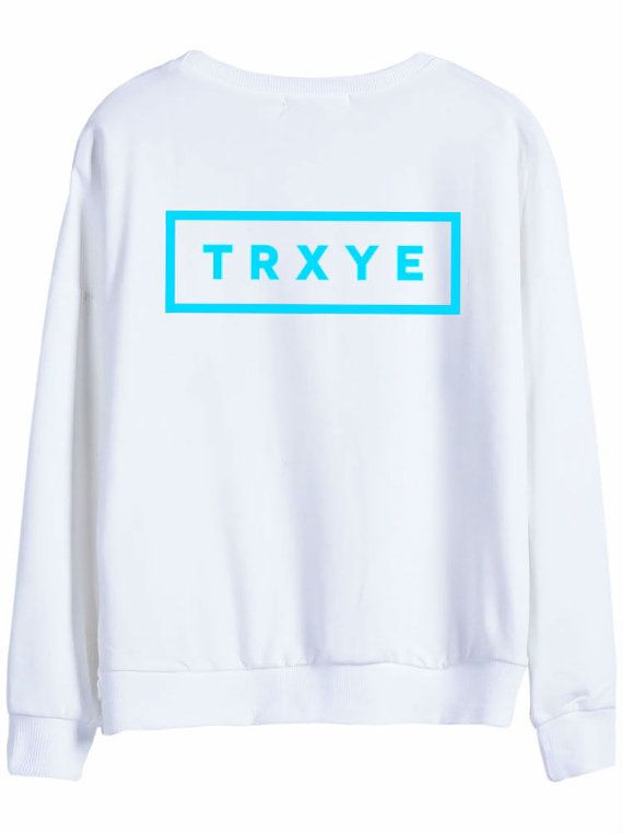 Near exact replica of the rare blue and white TRXYE sweatshirt. The one pictured is an adult small, but other sizes are available. Color is