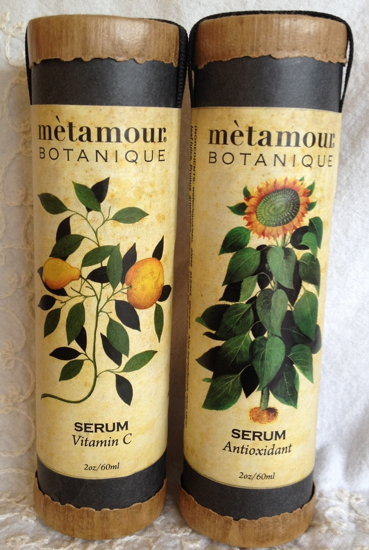 METAMOUR BOTANIQUE SERUMS: Antioxidant and Vitamin C in Reusable Paper Tubes. Certified Organic, too!! www.metamourskincare.com