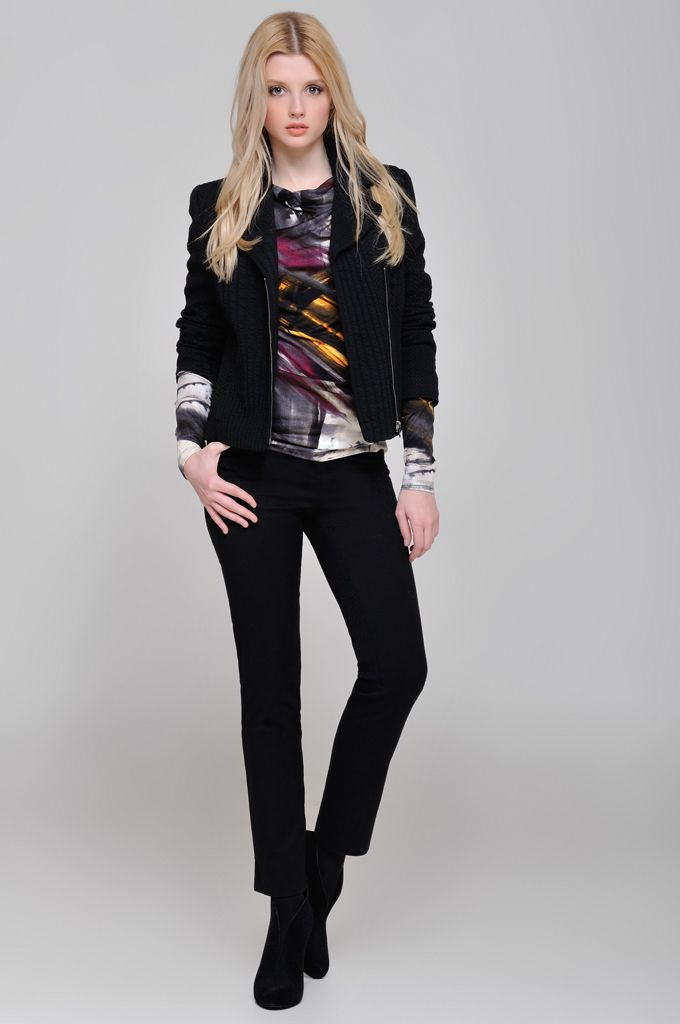 Textured cowl-neck side zip blazer, Draped jersey printed blouse, Cropped jacquard slim fit pant