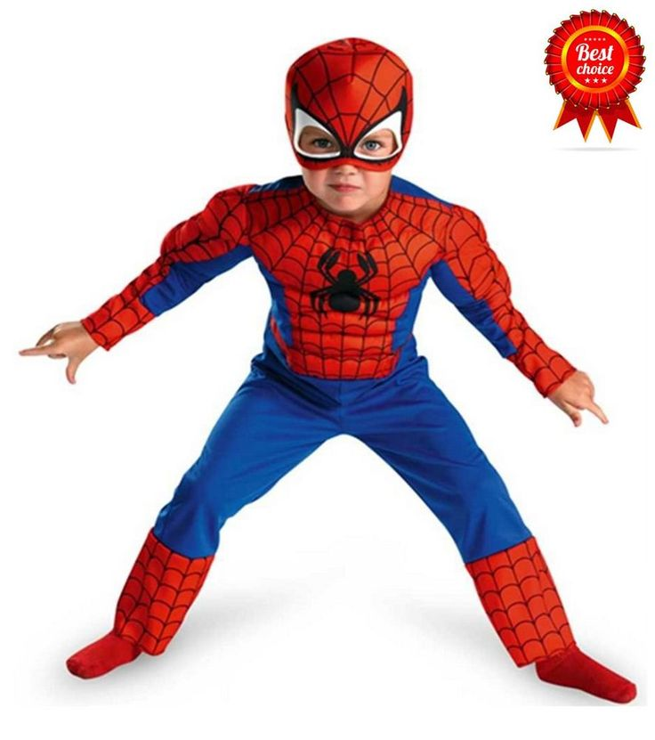 Disguise Marvel Spiderman Jumpsuit Toddler Muscle Boy Costume Cap Mask Large 4-6 #DisguiseCostumes #Jumpsuit