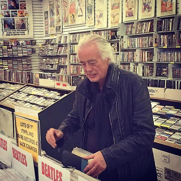 """ Jimmy Page photographed recently shopping for vinyl record, 2014. Via LedZepNews. """