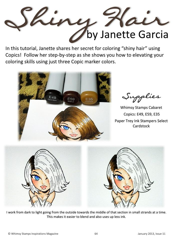 Whimsy Stamps Inspirations Magazine - Issue 11. Copic colouring shiny hair using E35, E49 and E59.