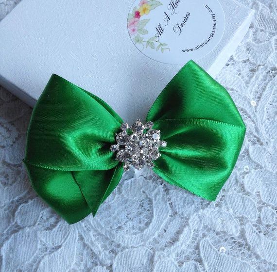 Emerald Green Satin Hair Bow