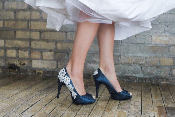 Wedding Shoes Blue Wedding Heels Navy Blue Heels by walkinonair