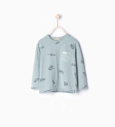 Image 1 de T-shirt à animaux et poche de Zara