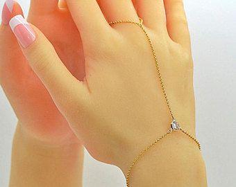 Finger Bracelet, Gold Chain Bracelet, Cz Diamond Bracelet, 14k Gold Filled Chain Bracelet, Delicate Chain Bracelet, Slave Bracelet by malizbijoux. Explore more products on http://malizbijoux.etsy.com