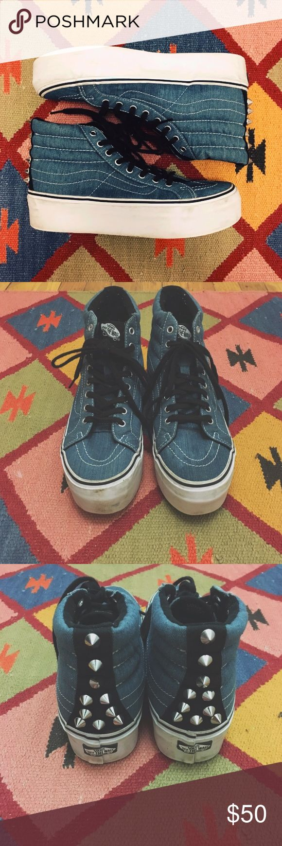 VANS SK8 HI PLATFORM STUDDED SHOE - Blue Denim/White - US Men Size 6.5 / US Woman Size 8 - True to Size - Worn Only Twice - Some small signs of wear - 8/10 condition    (Last two photos not of actual shoes for sale) Vans Shoes Sneakers