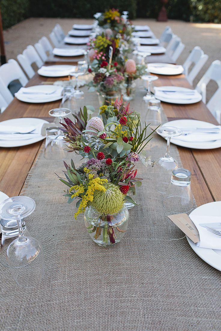 #burlap, #table-runners, #centerpiece  Photography: It's Beautiful Here - its-beautiful-here.com/  Read More: http://www.stylemepretty.com/australia-weddings/2014/06/30/diy-victoria-wedding-at-euroa-butter-factory/