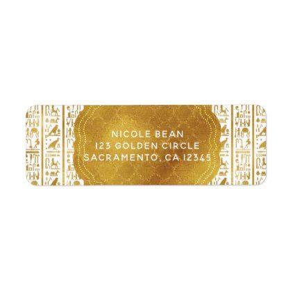 Gold White Egyptian Egypt Eye Glam Modern Wedding Label - birthday gifts party celebration custom gift ideas diy