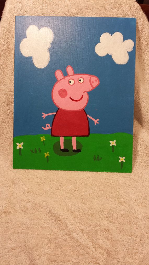 Peppa Pig  TO BUY: Comment with your email address, and you'll receive a secure checkout link.  Price: $35.00.  A wonderful painting of the cute Peppa Pig!  Painted on an 11x14 flat pannel canvas using acrylic paint. Add this cutie to your existing Peppa Pig decor. Give a little precious someone a special surprise with this hand painted portrait.